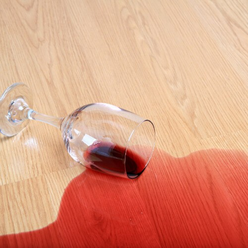 Red wine spill on Laminate floor | Andy's 5 Star Flooring