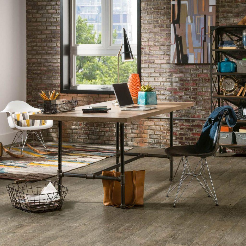 hardwood flooring in industrial style home